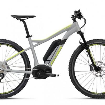 FLYER_E–Bikes_Uproc1_Hardtail_marmorgrau_limegelb